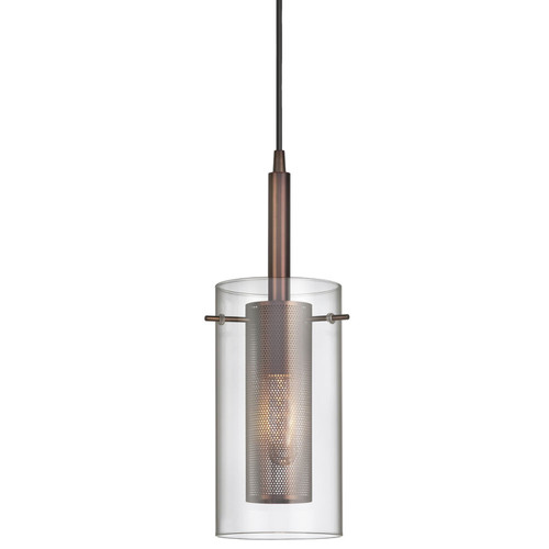 Dainolite Lighting  30961-CM-OBB 1 Light Pendant, Oil Brushed Bronze, Clear Glass / Steel Mesh