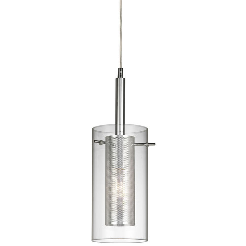 Dainolite Lighting  30961-CM-PC 1 Light Pendant, Polished Chrome, Clear Glass / Steel Mesh