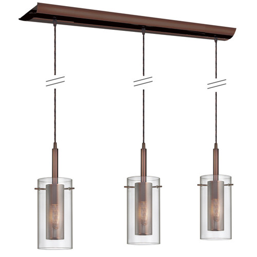 Dainolite Lighting  30963-CM-OBB 3 Light Horizontal Pendant, Oil Brushed Bronze, Clear Glass / Steel Mesh