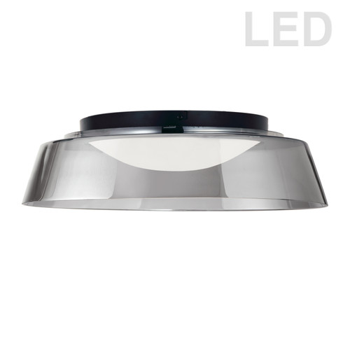 Dainolite Lighting  3145-LEDFH18-SM-MB 35W LED Flush Mount, Matte Black with Smoked Glass