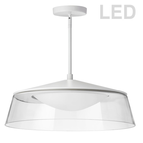 Dainolite Lighting  3145-LEDP18-CL-MW 35W LED Pendant Matte White Finish with Clear Glass