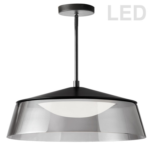 Dainolite Lighting  3145-LEDP18-SM-MB 35W LED Pendant Matte Black Finish with Smoked Glass
