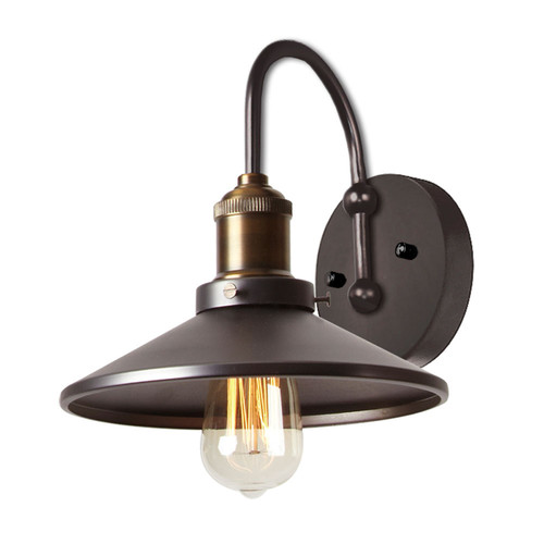 Dainolite Lighting  408-1W-VS 1 Light Wall Sconce, Vintage Steel / Antique Brass