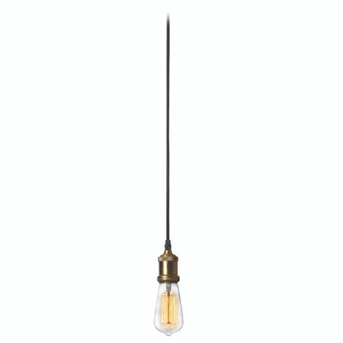 Dainolite Lighting  409-102P-VS 1 Light Pendant, Vintage Steel / Antique Brass Finish, 10 foot cord