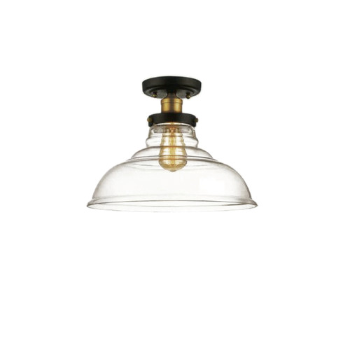 Dainolite Lighting  410-131SF-BAB 1 Light, Semi Flush Mount, Black and Antique Brass Finish, Clear Glass
