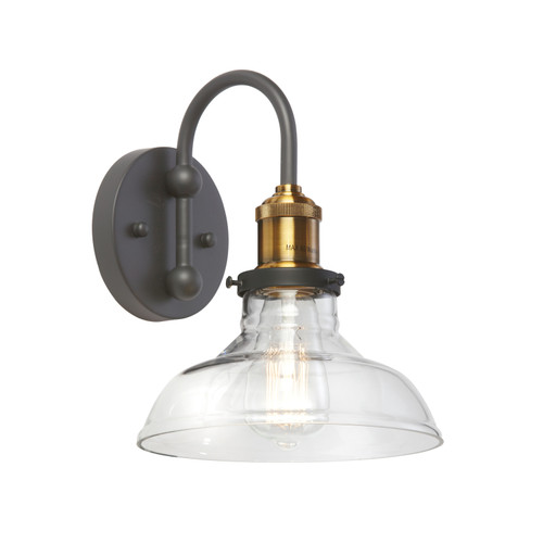 Dainolite Lighting  410-61W-BAB 1 Light Wall Sconce, Black and Antique Brass Finish, Clear Glass