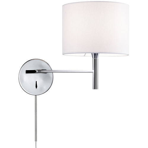 Dainolite Lighting  463-1W-PC-WH 1 Light Incandescent Wall Sconce, Polished Chrome Finish with White Shade