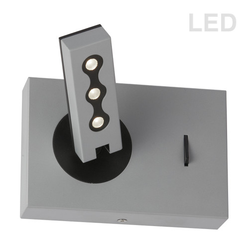 Dainolite Lighting  479LEDW-SV Wall Sconce w/LED Reading Lamp, Silver Finish