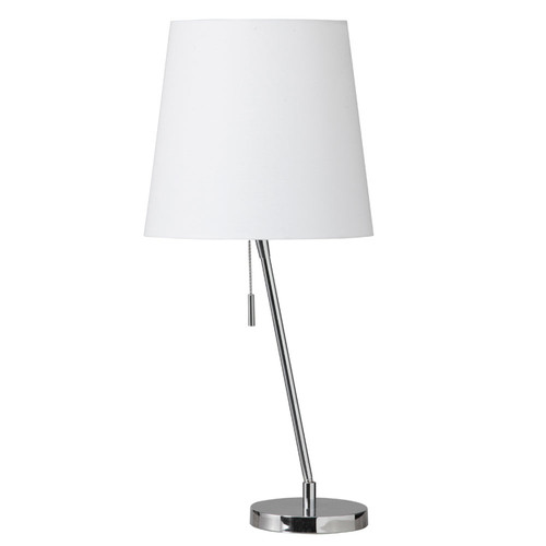 Dainolite Lighting  546T-PC Canting Table Lamp, Polished Chrome, White Linene Shade 790