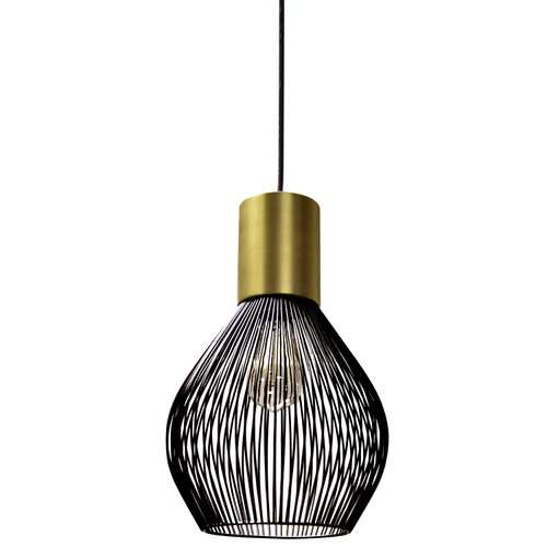 Dainolite Lighting  565-101P-VB 1 Light Incandescent Pendant, Vintage Bronze Finish with Black Frame