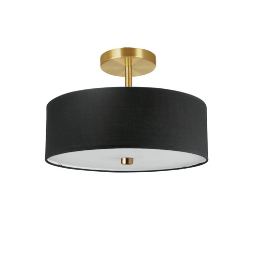 Dainolite Lighting  571-143SF-AGB-BK 3 Light Incandescent Semi-Flush Mount Aged Brass with Black Shade