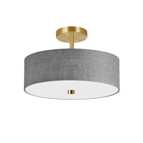 Dainolite Lighting  571-143SF-AGB-GRY 3 Light Incandescent Semi-Flush Mount Aged Brass with Grey Shade