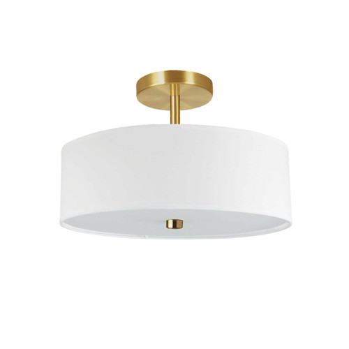 Dainolite Lighting  571-143SF-AGB-WH 3 Light Incandescent Semi-Flush Mount Aged Brass with White Shade