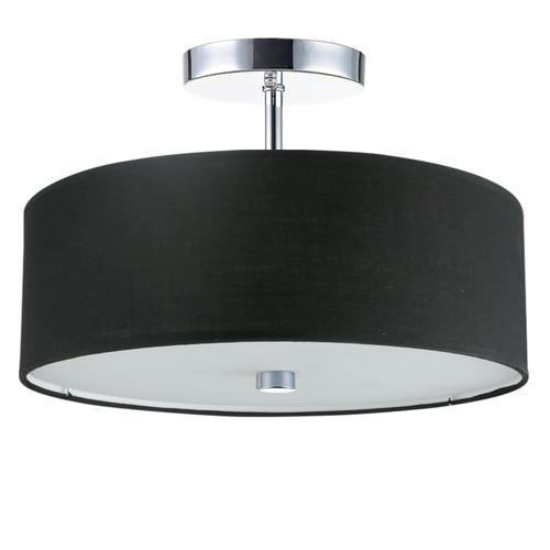 Dainolite Lighting  571-143SF-PC-BK 3 Light Incandescent Semi Flush Polished Chrome Finish with Black Shade