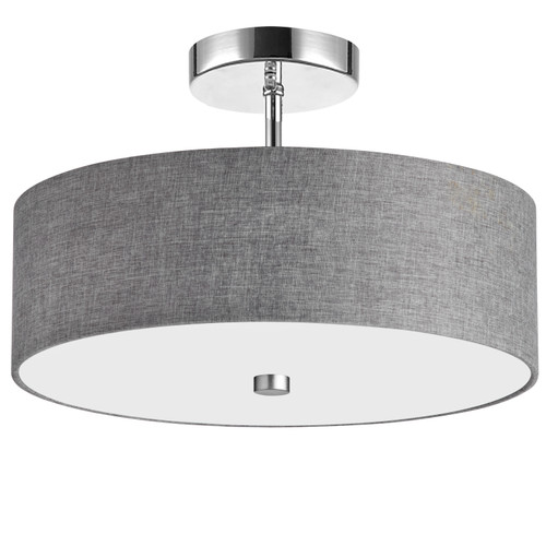 Dainolite Lighting  571-143SF-PC-GRY 3 Light Incandescent Semi Flush Polished Chrome Finish with Grey Shade
