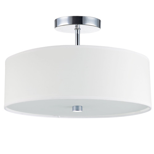 Dainolite Lighting  571-143SF-PC-WH 3 Light Incandescent Semi Flush Polished Chrome Finish with White Shade
