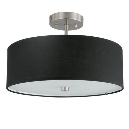 Dainolite Lighting  571-143SF-SC-BK 3 Light Incandescent Semi Flush Satin Chrome Finish with Black Shade