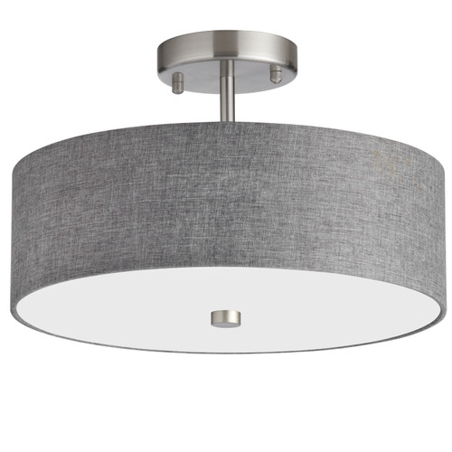 Dainolite Lighting  571-143SF-SC-GRY 3 Light Incandescent Semi Flush Satin Chrome Finish with Grey Shade