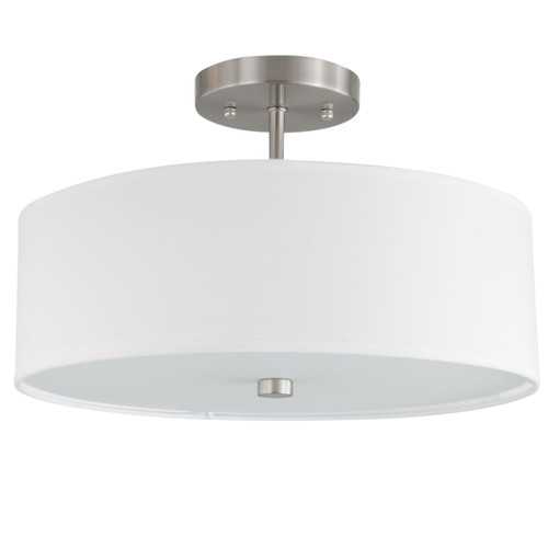 Dainolite Lighting  571-143SF-SC-WH 3 Light Incandescent Semi Flush Satin Chrome Finish with White Shade