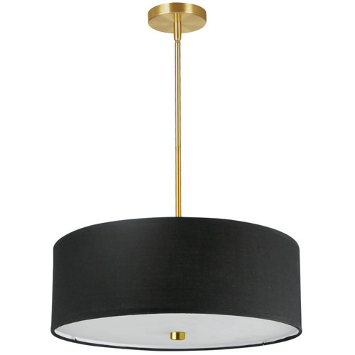 Dainolite Lighting  571-204P-AGB-BK 4 Light Incandescent Pendant Aged Brass with Black Shade