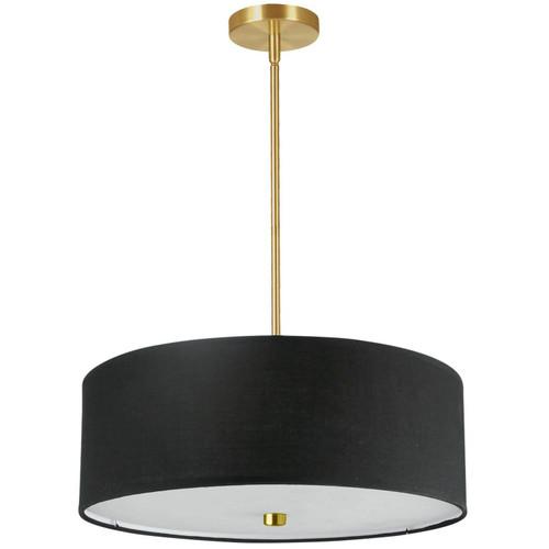 Dainolite Lighting  571-204P-AGB-BK 4 Light Incandescent Pendant Aged Brass with Black Shade