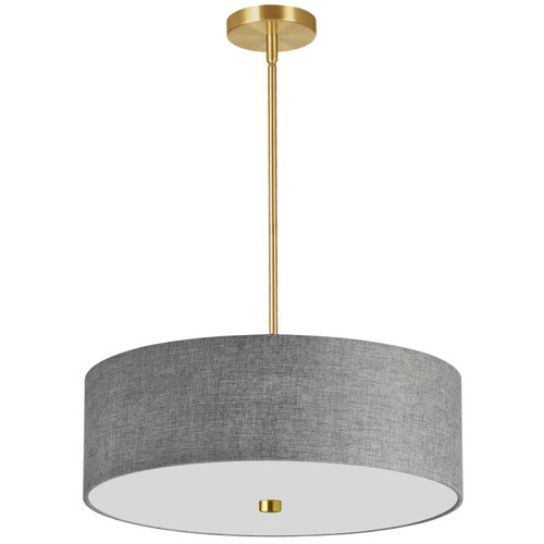 Dainolite Lighting  571-204P-AGB-GRY 4 Light Incandescent Pendant Aged Brass with Grey Shade