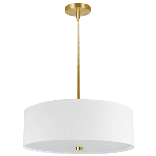 Dainolite Lighting  571-204P-AGB-WH 4 Light Incandescent Pendant Aged Brass with White Shade