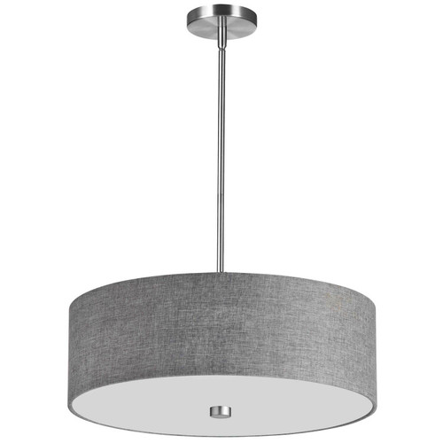 Dainolite Lighting  571-204P-PC-GRY 4 Light Incandescent Pendant Polished Chrome with Grey Shade
