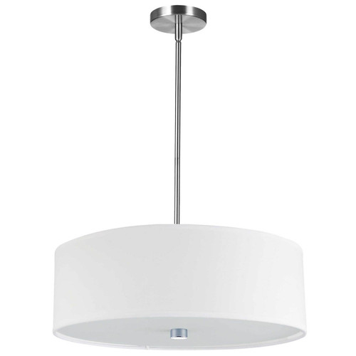 Dainolite Lighting  571-204P-PC-WH 4 Light Incandescent Pendant Polished Chrome with White Shade