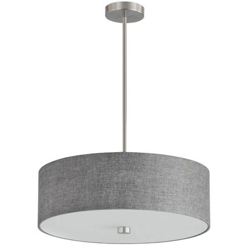 Dainolite Lighting  571-204P-SC-GRY 4 Light Incandescent Pendant Satin Chrome with Grey Shade