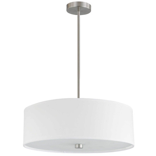 Dainolite Lighting  571-204P-SC-WH 4 Light Incandescent Pendant Satin Chrome with White Shade