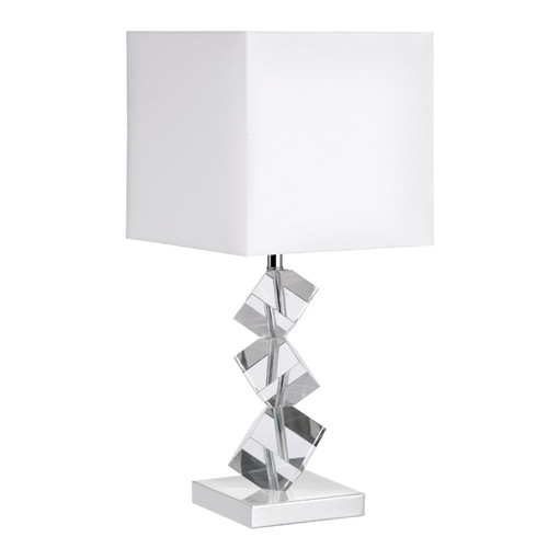 Dainolite Lighting  601T-PC-WH Table Lamp w/ Crystal Cubes, Polished Chrome, White Linen Shade