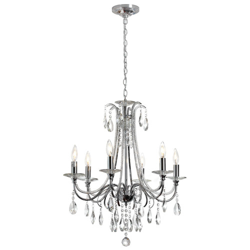 Dainolite Lighting  615-246C-PC 6 Light Crystal Chandelier,Polished Chrome Finish