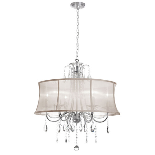 Dainolite Lighting  615-270C-PC-117 6 Light Crystal Chandelier, Polished Chrome, Oyster Organza Bell Shade