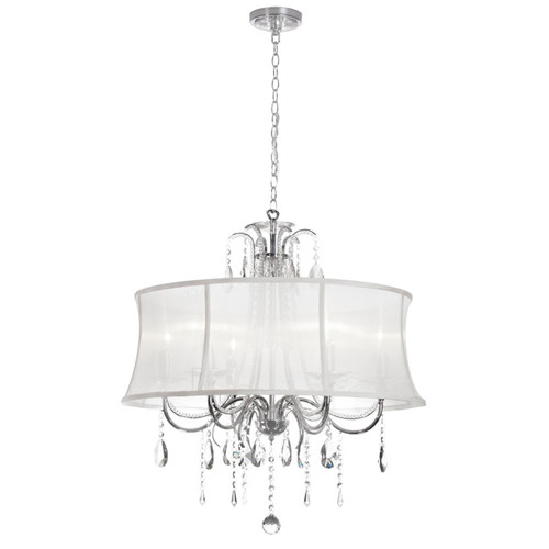 Dainolite Lighting  615-270C-PC-119 6 Light Crystal Chandelier, Polished Chrome, White Organza Bell Shade