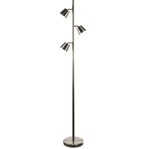 Dainolite Lighting  625LEDF-SC 3 Light LED Floor Lamp, Satin Chrome Finish