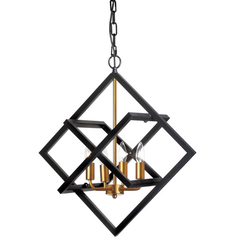 Dainolite Lighting  682-234P-BK-VB 4 Light Adjustable  Incandescent Pendant, Black and VB Finish