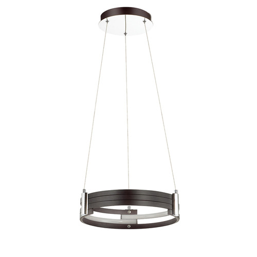 Dainolite Lighting  722-LEDP15-MB LED Pendant, Matte Black Finish, Polished Chrome Accents