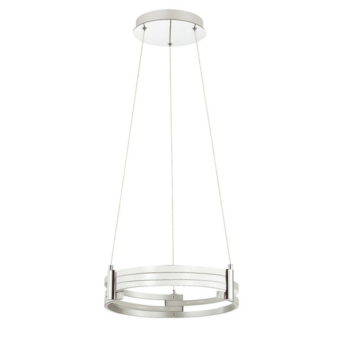 Dainolite Lighting  722-LEDP15-MW LED Pendant, Matte White Finish, Polished Chrome Accents