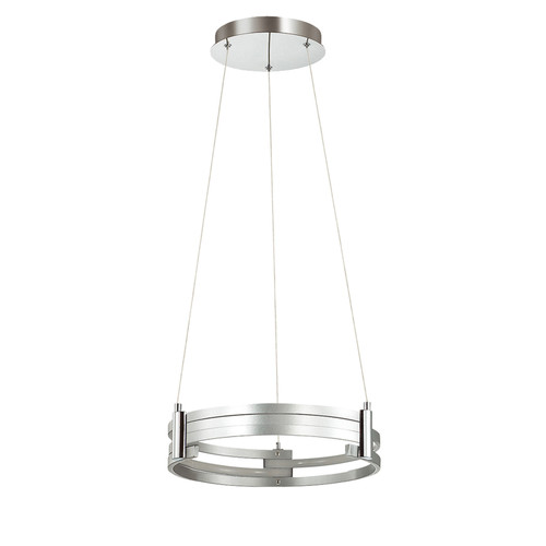 Dainolite Lighting  722-LEDP15-SV LED Pendant, Silver Finish, Polished Chrome Accents
