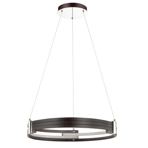 Dainolite Lighting  722-LEDP24-MB LED Pendant, Matte Black Finish, Polished Chrome Accents