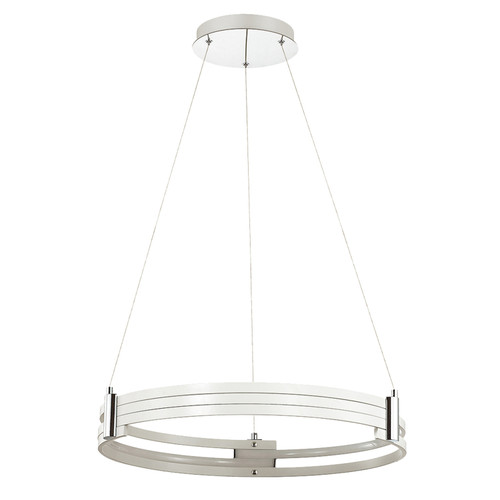 Dainolite Lighting  722-LEDP24-MW LED Pendant, Matte White Finish, Polished Chrome Accents