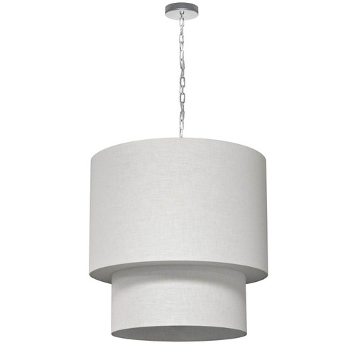 Dainolite Lighting  732424-2400-PC 5 Light 2 Tiers Drum Linen Milano White, Acrylic Diffuser, Polished Chrome