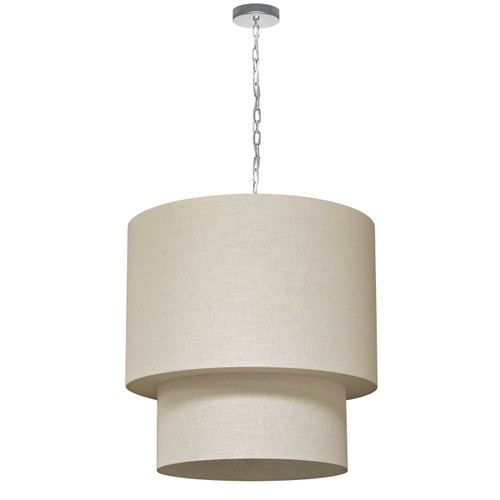 Dainolite Lighting  732424-2405-PC 5 Light 3 Tiers Drum Linen Milano Cream, Acrylic Diffuser, Polished Chrome