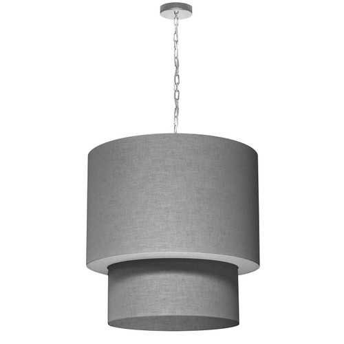 Dainolite Lighting  732424-2423-PC 5 Light 3 Tiers Drum Linen Milano Grey, Acrylic Diffuser, Polished Chrome