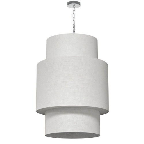 Dainolite Lighting  732432-2400-PC 7 Light 3 Tiers Drum Linen Milano White, Acrylic Diffuser, Polished Chrome