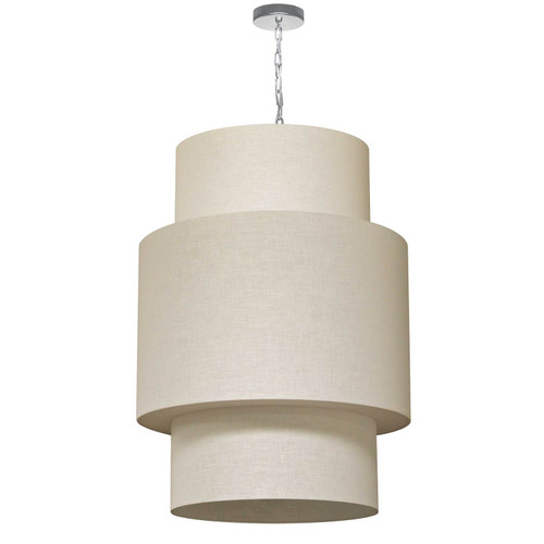 Dainolite Lighting  732432-2405-PC 7 Light 3 Tiers Drum Linen Milano Cream, Acrylic Diffuser,Polished Chrome