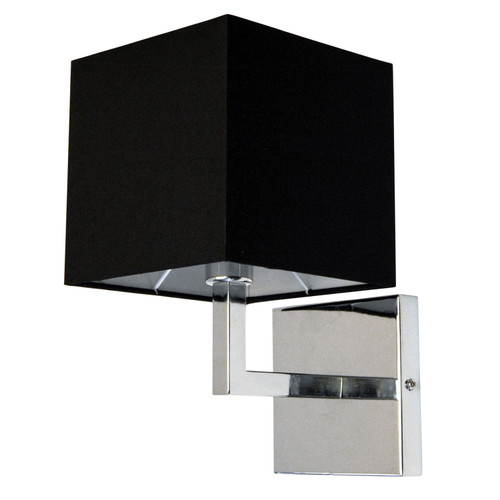 Dainolite Lighting  77-1W-PC-BK 1 Light Incandescent Wall Sconce, Polished Chrome with Black Shade Finish