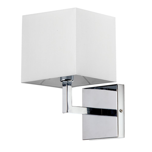 Dainolite Lighting  77-1W-PC-WH 1 Light Incandescent Wall Sconce, Polished Chrome with White Shade Finish