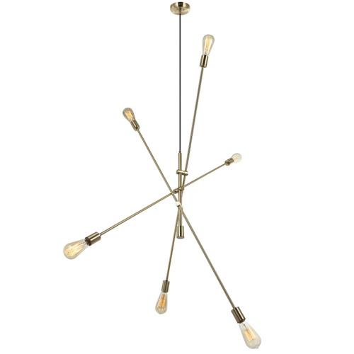 Dainolite Lighting  816P-AGB 6 Light Incandescent Adjustable Pendant Aged Brass Finish